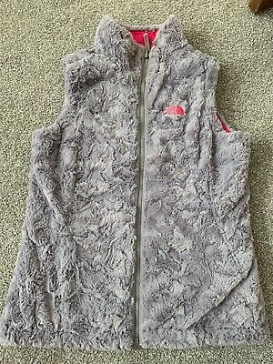 The North Face Girls Reversible Mossbud Swirl Vest Silver Pink Size Large 14-16