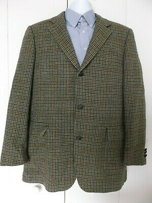 Vintage Brooks Brothers Houndstooth Plaid Wool 3 Button Blazer 41 Long Italy