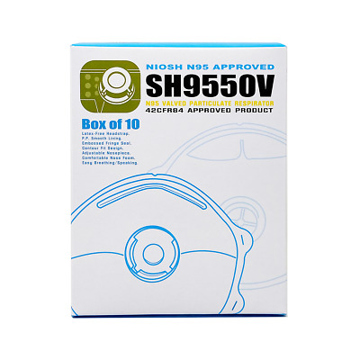 N95 Face Masks Particulate Respirator Mask with valve - NIOSH Approved - 10 pack