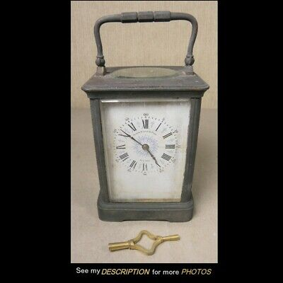 Antique French Repeater Brass Carriage Clock Black Starr & Frost