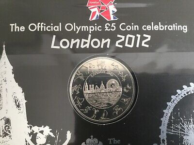 2012 London Olympic  UK five pound £5 coin : Sealed official Royal Mint BU Pack.