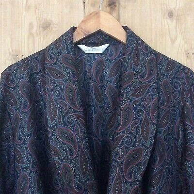 St Michael Vintage M&S Navy Paisley Smoking Jacket Dressing Gown Robe O/S