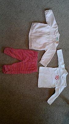 set of 3-age 6-9 months,red,pink,white leggings+ 2 tops,vertbaudet/mothercare