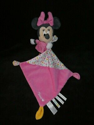 doudou minnie mouchoir rose blanc triangle pois disney