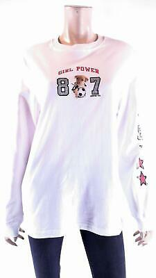 Limited Too Girl Power Girls size XXL Cotton Shirt White Graphic Long Sleeve