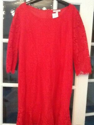 Jacques Vert SCARLET RED HEAVY LACE KNEE LENGTH DRESS SCARLET RED LACE COAT