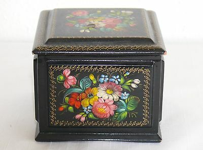 Old Russian Trinket Jewelry Lidded Box Black Lacquer Hand Painted Signed Vintage