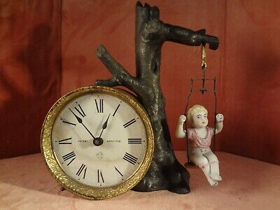 Ansonia Swinging Doll Clock Very Rare 30 Hour Time Only