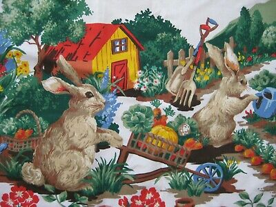 Vintage EASTER Spring Geraniums Bunnies Gardening Tablecloth Cotton 55 x 77 OVAL