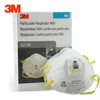 3M 8210V N95 Particulate Respirator Mask W/Exhalation Valve, 1 Box of 10 Masks