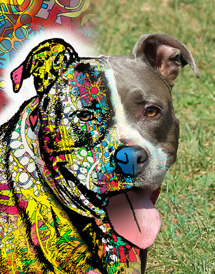 Dean Russo Art Print colorful dog direct from artist SIGNED pit bull happy pet