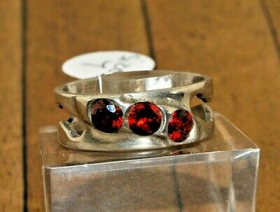 Handcrafted 925 Silver Ring with Red CZ Gemstone - Size 7,  $75 A2614*