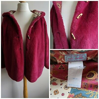 Vintage Faux Fur Raspberry Pink Jacket Coat Size Medium 12/14/16 Toggles Hood