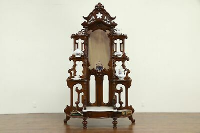Victorian Antique Walnut Etagere Curio Display Cabinet, Marble Base #32998