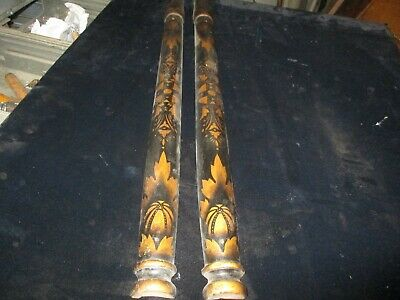 Pair Of Extra Nice Stenciled Antique 1/2 Columns For Pillar Clock