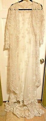 Vintage(?) Elegance Sheer Embroidered Lace Wedding Long Coat w/Extension~M/L~EXC