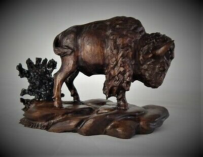 Bull Bison / Buffalo Original Black Walnut Wood Carving  Sculpture By Joan Kosel