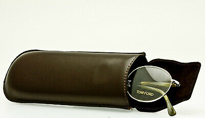 TOM FORD PREMIUM LEATHER SLIM POCKET CASE Brown Smooth Eyeglass Magnetic Closure