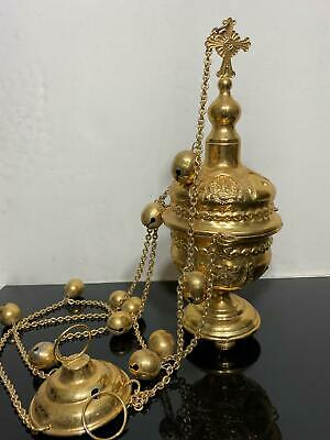 Vtg Gold Plated Religious Church Incense Burner Censer w/ Chime Bells