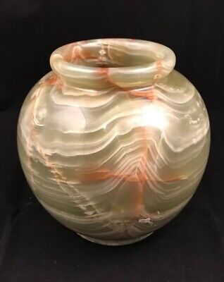 """Beautiful Green Cream Onyx Carved Stone Marble Alabaster VASE About 6"""""""