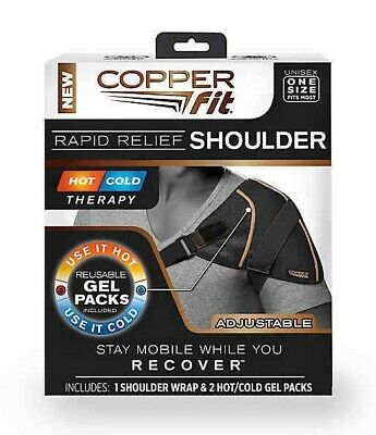 Copper Fit Rapid Relief Shoulder Wrap Hot Cold Therapy Adjustable Reusable. New.