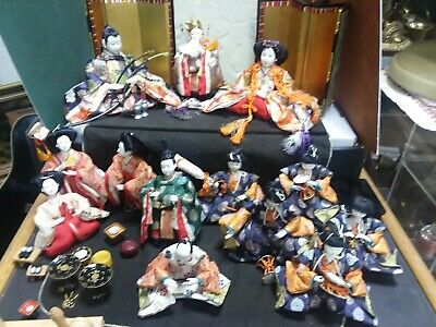 Antique vintage Japanese Hina  Dolls Imperial Court set of 13
