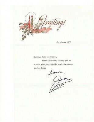 Joan Crawford Authentic Autographed 8X10 Christmas Greeting Letter w/envelope