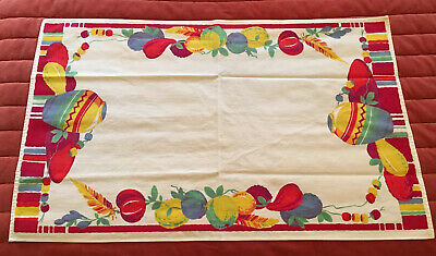 Vintage WILENDUR Table Runner Tea Towel Spanish Southwest Mexican Fruit W/Tag #1