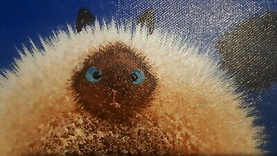 "Simon Heath Blue 'Puff"" Cat Picture 12 X 10 Inches"