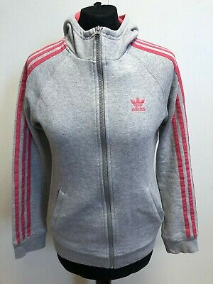N614 Girls Adidas Grey Pink Full Zip Tracksuit Jacket Hoodie Age 14-15 Years