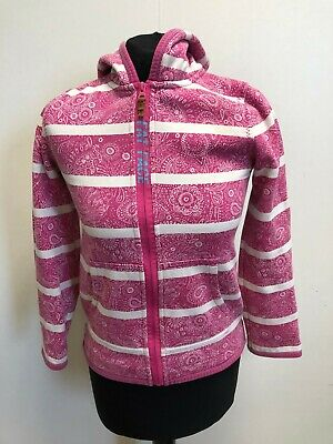 N616 Girls Fat Face Pink White Paisley Tracksuit Jacket Hoodie Age 10-11 Years