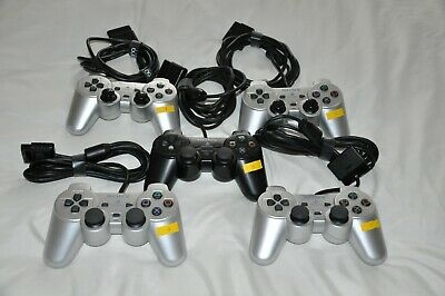 5 Official Sony Playstation 2 PS2 Dualshock controllers, 2 of them are working