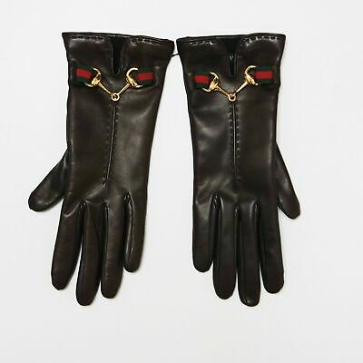 New Gucci Brown Gloves Guanti Pelle Marrone Morsetto Nastro Web Nuovi 100% Orig