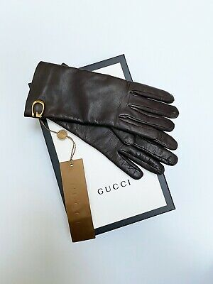 New Gucci Leather Brown Gloves Guanti Pelle Marrone Gg Nuovi 100% Originali
