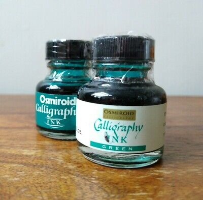 Vintage Calligraphy Green Inks x2  - Osmiroid - Sealed - Unused