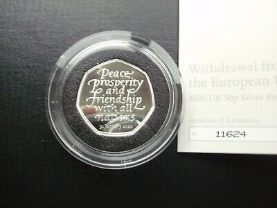 UK 2020 Brexit 50p Fifty Pence SILVER PROOF COIN IN Hand Coa 11624 IMMACULATE!!