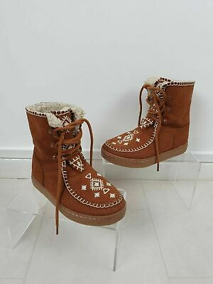Zara Girls Fleeced Lined Suede Style Brown Tan Boots Size EU 31 UK 12.5