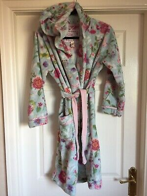 Girls Floral Monsoon Fluffy Velour Dressing Robe Gown Age 11-12 Aqua Blue Pink