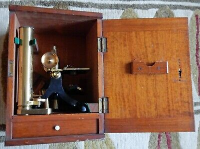 CASED EARLY 20th CENTURY J.H.STEWARD BRASS MICROSCOPE