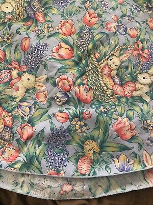 """Vintage Easter Tablecloth with Flowers, Bunnies, Eggs, Chicks Baskets 50"""" Round"""