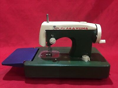 Vintage Toy Sewing Machine Hand Operated Green Blue And White Learning Travel