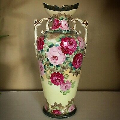Antique NIPPON FLORAL VASE - NORITAKE Early Mark Beautiful Very Old Chintz