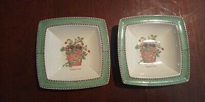 Wedgwood Sarah's Garden, 2 Square Bowls,Strawberry Pot, Queen's Ware