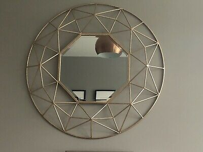 Large geometric gold metal wire frame round mirror retro industrial home decor