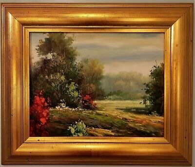 11x14 Oil Painting on Canvas, Landscaping, with 20x17 Wide Solid Wood Frame