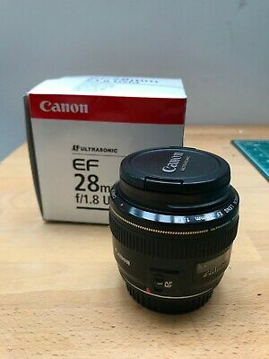 Canon EF 28mm F/1.8 USM Lens and both lens caps, used, excellent condition