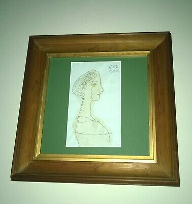 PABLO PICASSO original signed watercolour ink on paper 1963 Portrait of a Lady