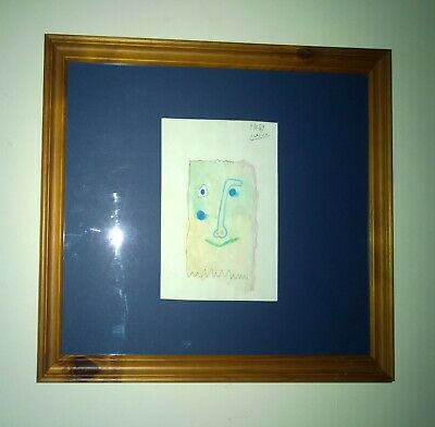 """PABLO PICASSO ink and watercolour """"CUBEFACE"""" original signed art on paper 1969."""