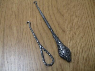 2 Antique Boot Lace Hooks Decorative Art and Crafts Collectible Victorian