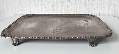 Vintage Mid 20Th Century Silver Plated Footed Serving Tray